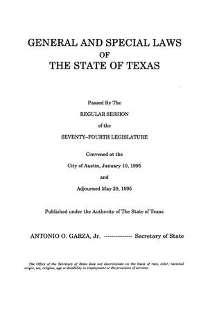 Primary view of object titled 'General and Special Laws of The State of Texas Passed By The Regular Session of the Seventy-Fourth Legislature, Volume 4'.