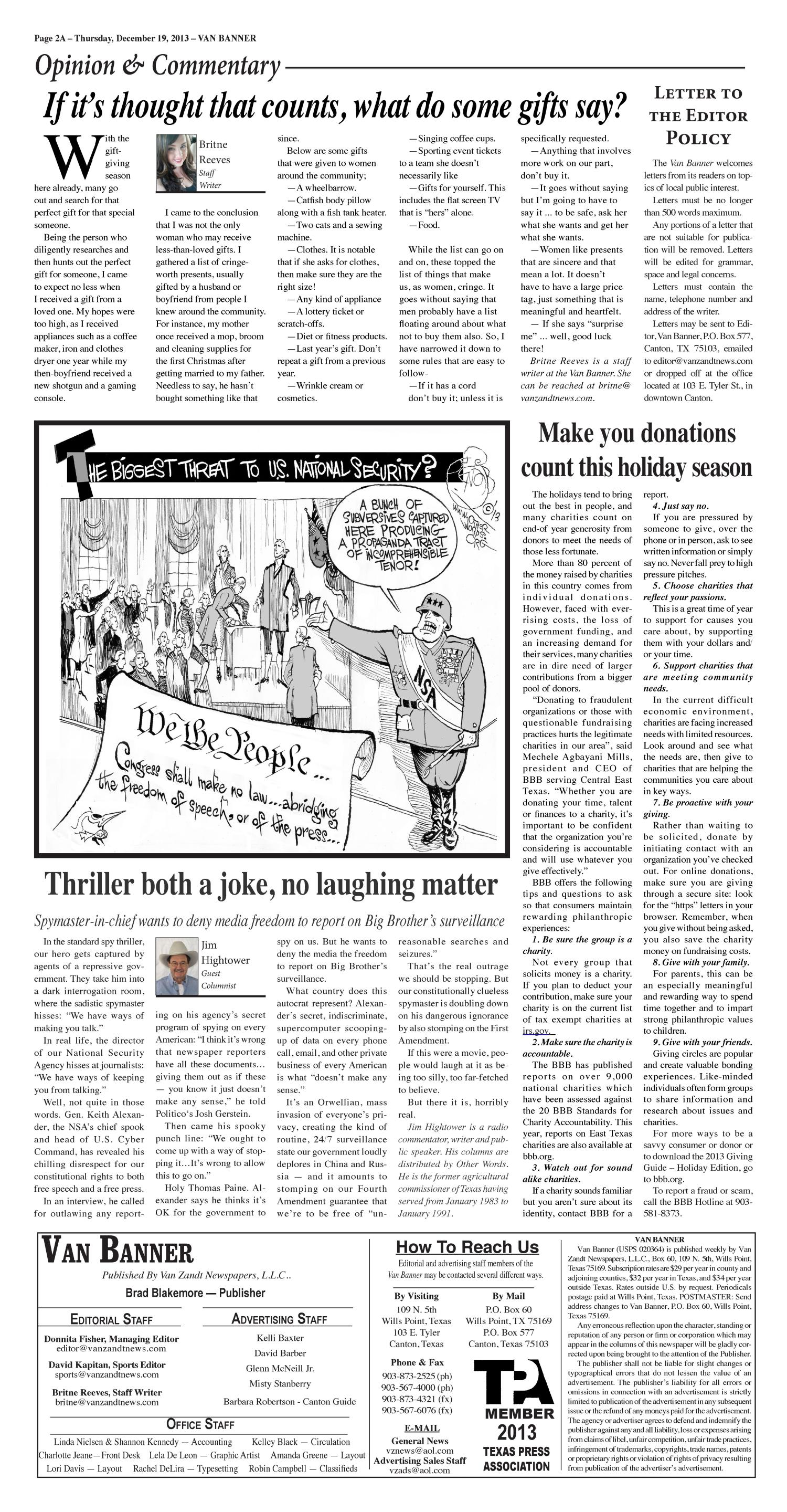 Van Banner (Van, Tex.), Vol. 18, No. 21, Ed. 1 Thursday, December 19, 2013                                                                                                      [Sequence #]: 2 of 30