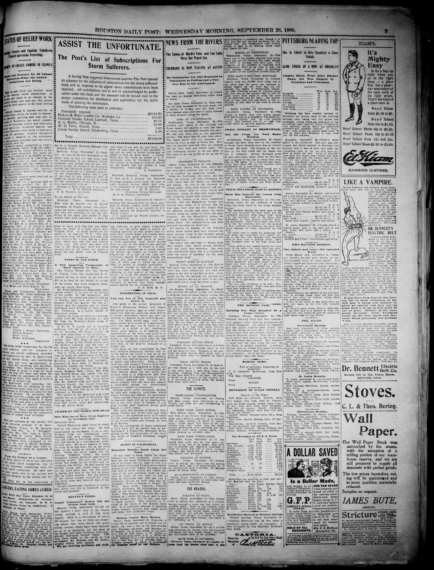 The Houston Daily Post (Houston, Tex.), Vol. XVIth Year, No. 175, Ed. 1, Wednesday, September 26, 1900 - Page 3 of 10 - The Portal to Texas History