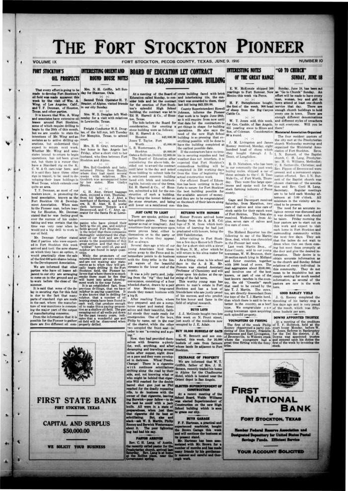 The Fort Stockton Pioneer Fort Stockton Tex Vol 9 No 10 Ed