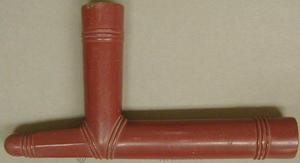 Primary view of object titled '[Red Catlinite Native American pipe]'.