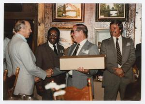 [Fire Chief Jack Gentry receiving a service award]