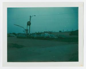Primary view of object titled '[Gulf service station sign and bowling alley]'.