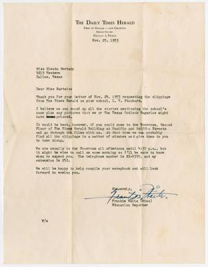 [Letter from Miss Frankie Waits to Miss Glenda Sartain, November 25, 1953]