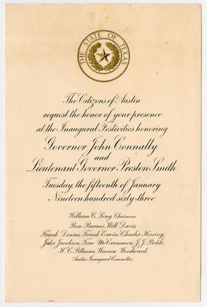 Invitation Inauguration of Governor John Connally and Lieutenant