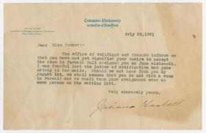 [Letter from the Office of the Adviser to Women Graduate Students to Lorraine Conner, July 22, 1921]