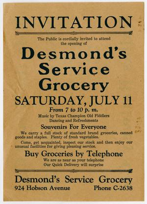 [Invitation: Desmond's Service Grocery Opening]