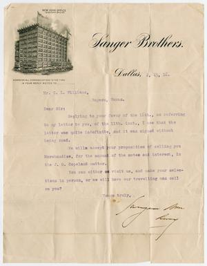 [Letter from Sanger Brothers to C. L. Williams, February 19, 1916]