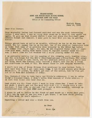 Primary view of object titled '[Letter from Moon Jim to Miss Corner, June 14, 1943]'.