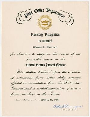 [US Post Office Department Honorary Recognition of Thomas F. Forrest]