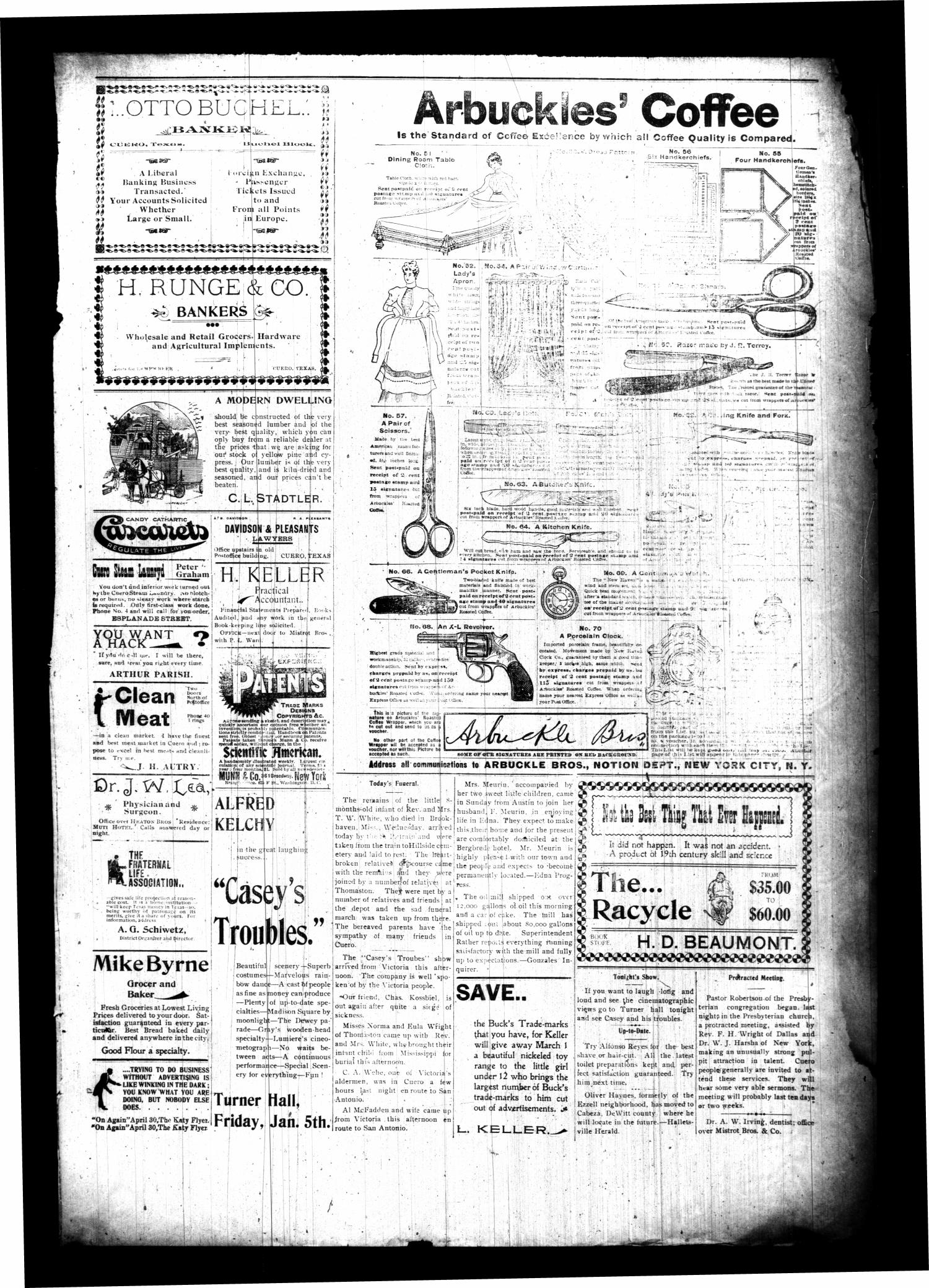 The Cuero Daily Record. (Cuero, Tex.), Vol. 12, No. 7, Ed. 1 Friday, January 5, 1900                                                                                                      [Sequence #]: 3 of 4