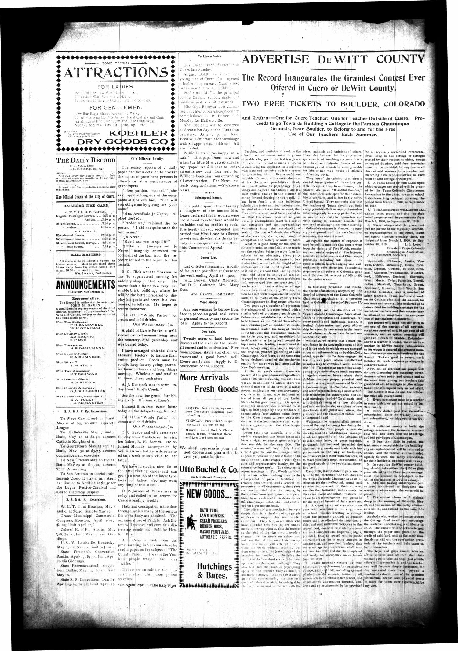 The Cuero Daily Record. (Cuero, Tex.), Vol. 12, No. 81, Ed. 1 Wednesday, April 18, 1900                                                                                                      [Sequence #]: 4 of 4