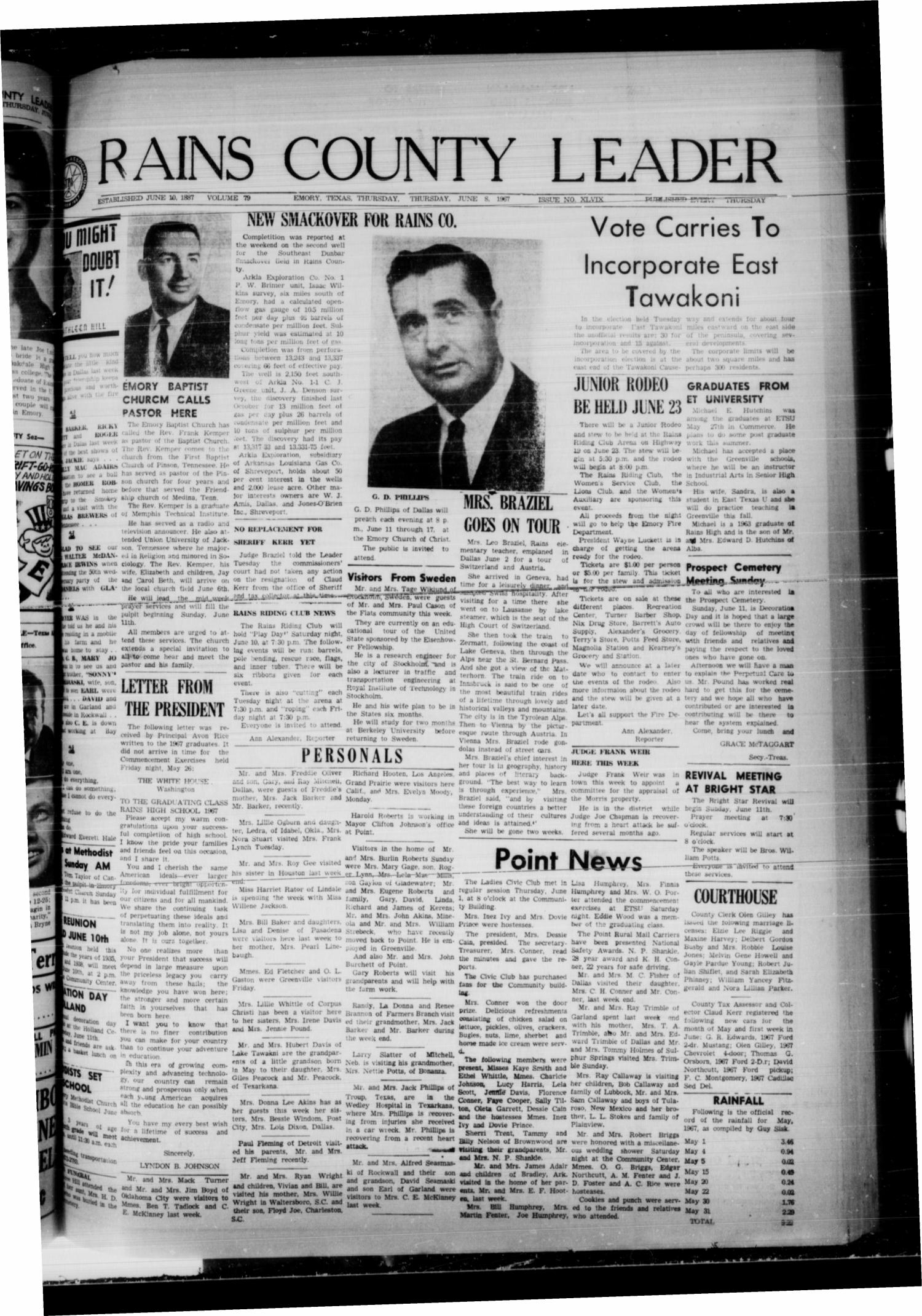Rains County Leader (Emory, Tex.), Vol. 79, No. 49, Ed. 1 Thursday, June 8, 1967                                                                                                      [Sequence #]: 1 of 8