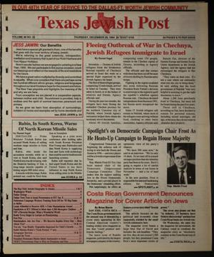 Primary view of object titled 'Texas Jewish Post (Fort Worth, Tex.), Vol. 48, No. 52, Ed. 1 Thursday, December 29, 1994'.