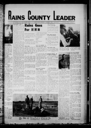 Primary view of object titled 'Rains County Leader (Emory, Tex.), Vol. 81, No. 20, Ed. 1 Thursday, November 7, 1968'.