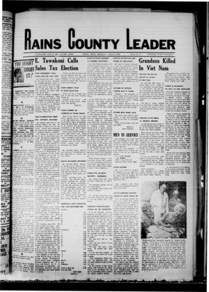 Primary view of object titled 'Rains County Leader (Emory, Tex.), Vol. 81, No. 37, Ed. 1 Thursday, March 13, 1969'.