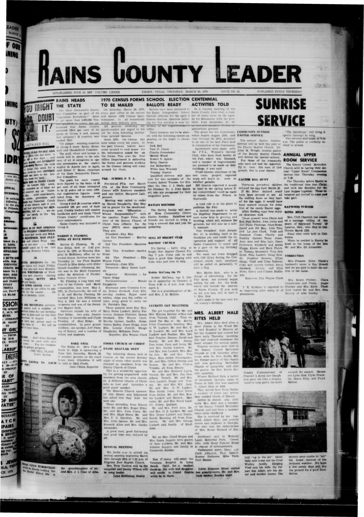Rains County Leader (Emory, Tex.), Vol. 82, No. 42, Ed. 1 Thursday, March 26, 1970                                                                                                      [Sequence #]: 1 of 8
