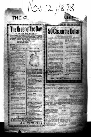 Primary view of object titled 'The Cuero Daily Record. (Cuero, Tex.), Vol. 9, No. 86, Ed. 1 Wednesday, November 2, 1898'.