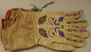 Primary view of object titled '[Leather glove with bead design on it]'.
