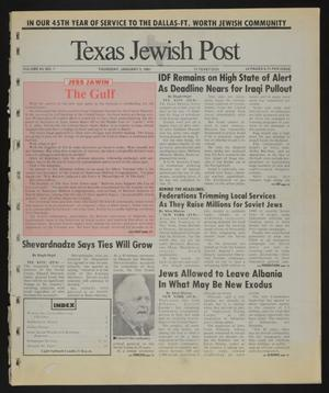 Primary view of object titled 'Texas Jewish Post (Fort Worth, Tex.), Vol. 45, No. 1, Ed. 1 Thursday, January 3, 1991'.