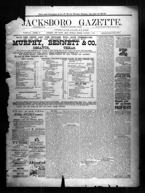 Primary view of object titled 'Jacksboro Gazette. (Jacksboro, Tex.), Vol. 8, No. 22, Ed. 1 Thursday, December 1, 1887'.