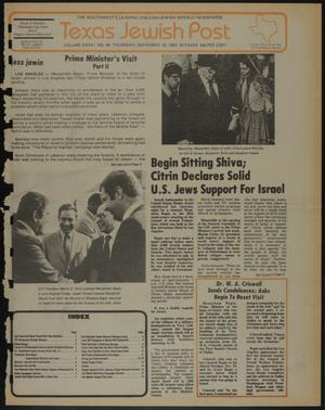 Primary view of object titled 'Texas Jewish Post (Fort Worth, Tex.), Vol. 36, No. 46, Ed. 1 Thursday, November 18, 1982'.