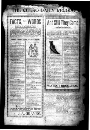 Primary view of object titled 'The Cuero Daily Record. (Cuero, Tex.), Vol. 9, No. 67, Ed. 1 Friday, October 7, 1898'.