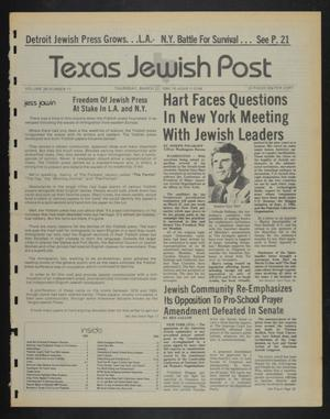 Primary view of object titled 'Texas Jewish Post (Fort Worth, Tex.), Vol. 38, No. 11, Ed. 1 Thursday, March 22, 1984'.