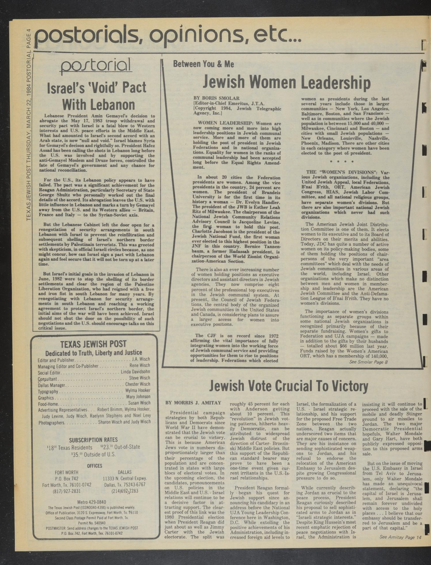 Texas Jewish Post (Fort Worth, Tex.), Vol. 38, No. 11, Ed. 1 Thursday, March 22, 1984                                                                                                      [Sequence #]: 4 of 24