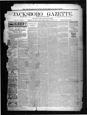 Primary view of object titled 'Jacksboro Gazette. (Jacksboro, Tex.), Vol. 8, No. 10, Ed. 1 Thursday, September 8, 1887'.