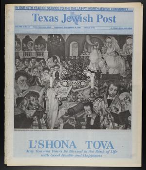 Primary view of object titled 'Texas Jewish Post (Fort Worth, Tex.), Vol. 49, No. 37, Ed. 1 Thursday, September 14, 1995'.