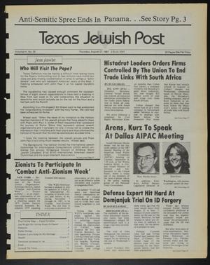 Primary view of object titled 'Texas Jewish Post (Fort Worth, Tex.), Vol. 41, No. 35, Ed. 1 Thursday, August 27, 1987'.