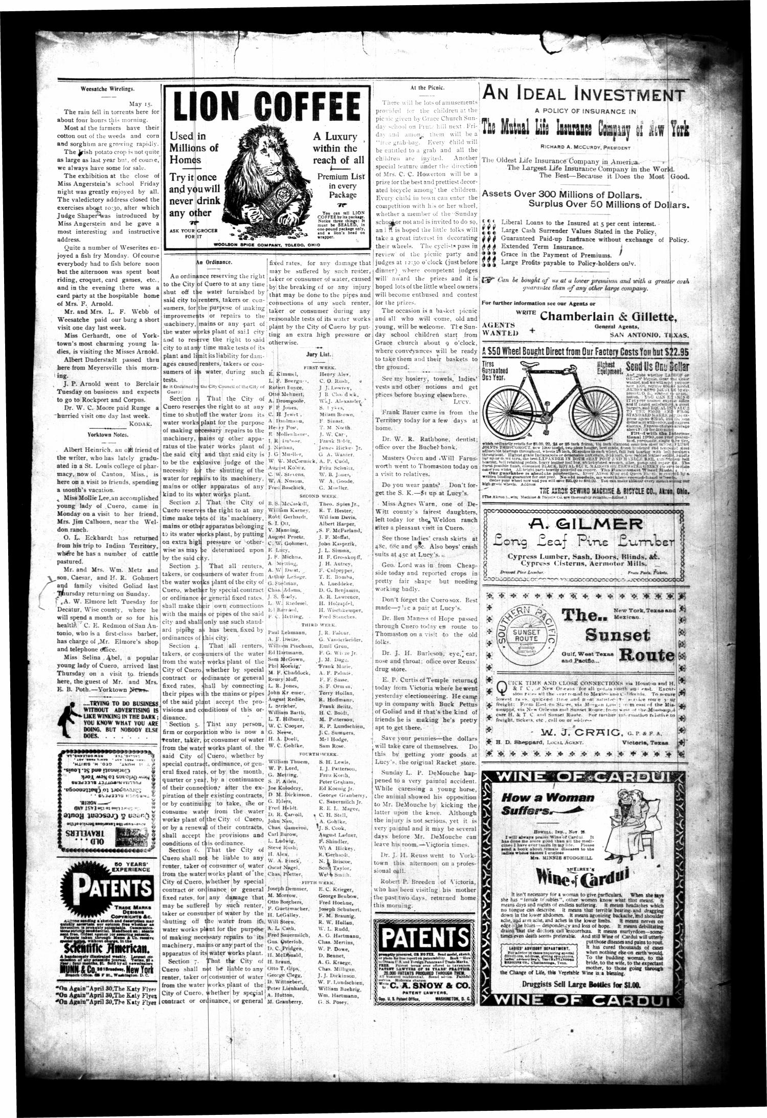 The Cuero Daily Record. (Cuero, Tex.), Vol. 12, No. 102, Ed. 1 Friday, May 18, 1900                                                                                                      [Sequence #]: 3 of 4