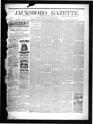 Primary view of object titled 'Jacksboro Gazette. (Jacksboro, Tex.), Vol. 7, No. 31, Ed. 1 Thursday, February 10, 1887'.