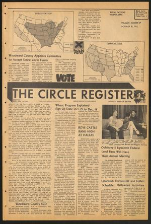 Primary view of object titled 'The Circle Register (Follett, Tex.), Vol. 1, No. 29, Ed. 1 Tuesday, October 30, 1962'.