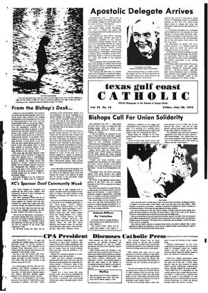 Primary view of object titled 'Texas Gulf Coast Catholic (Corpus Christi, Tex.), Vol. 9, No. 12, Ed. 1 Friday, July 20, 1973'.