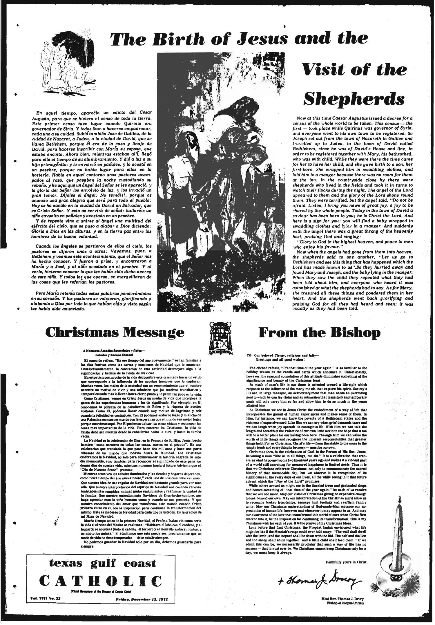 Texas Gulf Coast Catholic (Corpus Christi, Tex.), Vol. 3, No. 32, Ed. 1 Friday, December 15, 1972                                                                                                      [Sequence #]: 1 of 8
