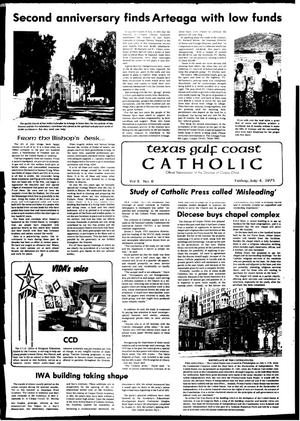 Primary view of object titled 'Texas Gulf Coast Catholic (Corpus Christi, Tex.), Vol. 10, No. 8, Ed. 1 Friday, July 4, 1975'.