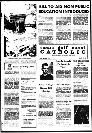 Primary view of object titled 'Texas Gulf Coast Catholic (Corpus Christi, Tex.), Vol. 6, No. 46, Ed. 1 Friday, March 5, 1971'.