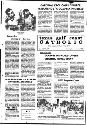 Primary view of object titled 'Texas Gulf Coast Catholic (Corpus Christi, Tex.), Vol. 3, No. 17, Ed. 1 Friday, September 1, 1972'.