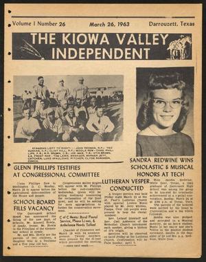 The Kiowa Valley Independent (Darrouzett, Tex.), Vol. 1, No. 26, Ed. 1 Tuesday, March 26, 1963