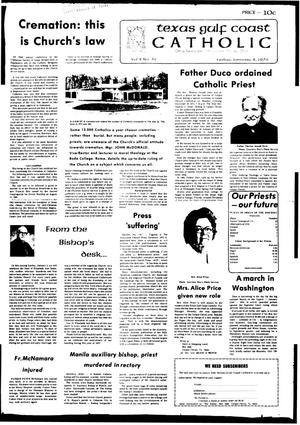 Primary view of object titled 'Texas Gulf Coast Catholic (Corpus Christi, Tex.), Vol. 10, No. 31, Ed. 1 Friday, January 2, 1976'.