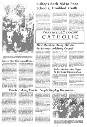 Primary view of object titled 'Texas Gulf Coast Catholic (Corpus Christi, Tex.), Vol. 9, No. 27, Ed. 1 Friday, November 15, 1974'.