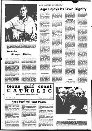 Primary view of object titled 'Texas Gulf Coast Catholic (Corpus Christi, Tex.), Vol. 3, No. 18, Ed. 1 Friday, September 8, 1972'.