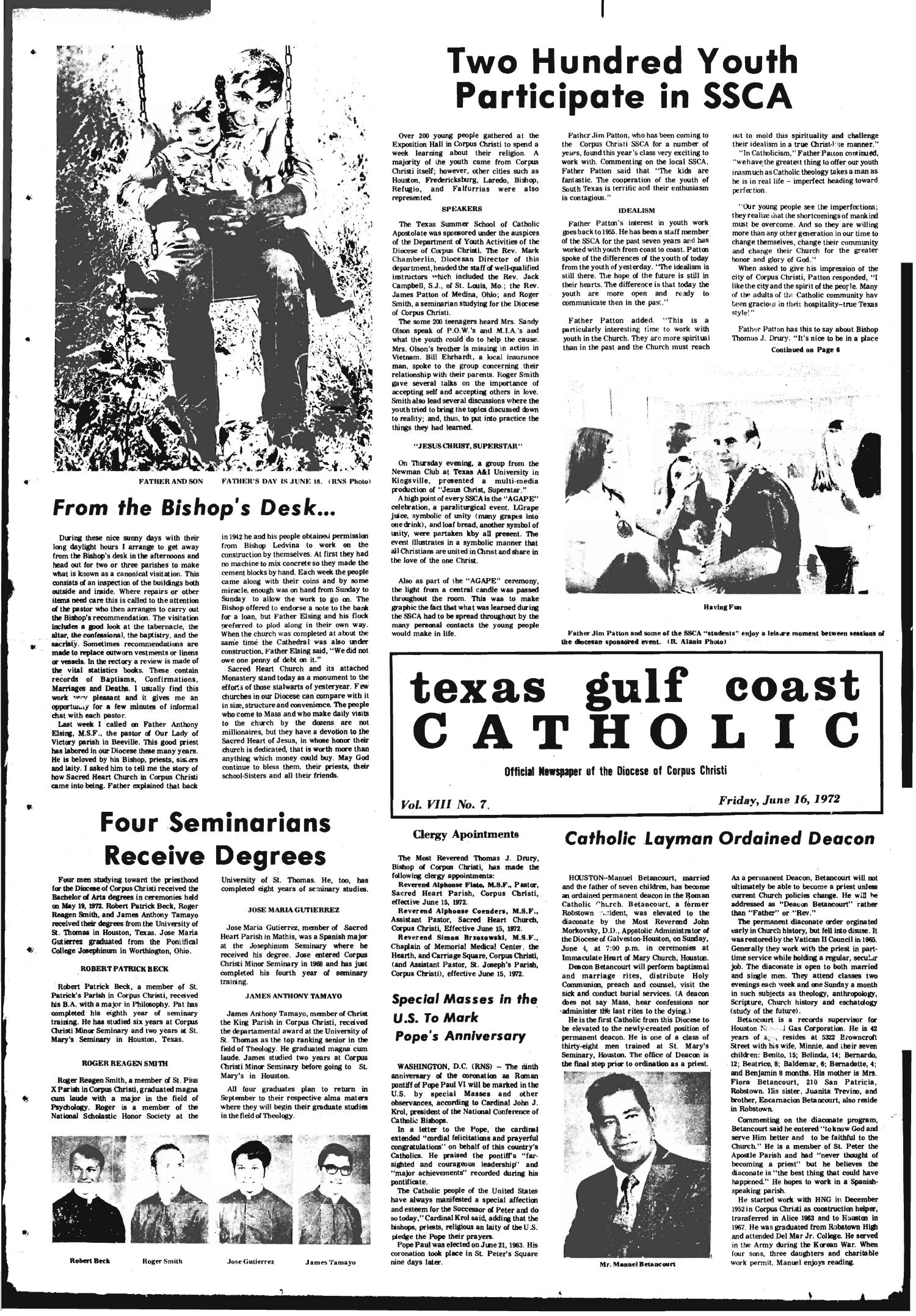 Texas Gulf Coast Catholic (Corpus Christi, Tex.), Vol. 3, No. 7, Ed. 1 Friday, June 16, 1972                                                                                                      [Sequence #]: 1 of 6