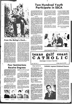 Primary view of object titled 'Texas Gulf Coast Catholic (Corpus Christi, Tex.), Vol. 3, No. 7, Ed. 1 Friday, June 16, 1972'.
