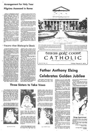 Primary view of object titled 'Texas Gulf Coast Catholic (Corpus Christi, Tex.), Vol. 9, No. 13, Ed. 1 Friday, August 9, 1974'.