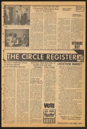 Primary view of object titled 'The Circle Register (Follett, Tex.), Vol. 1, No. 30, Ed. 1 Tuesday, November 6, 1962'.