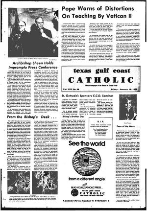 Primary view of object titled 'Texas Gulf Coast Catholic (Corpus Christi, Tex.), Vol. 3, No. 36, Ed. 1 Friday, January 19, 1973'.