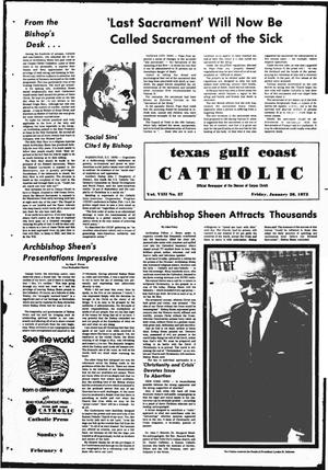 Primary view of object titled 'Texas Gulf Coast Catholic (Corpus Christi, Tex.), Vol. 3, No. 37, Ed. 1 Friday, January 26, 1973'.